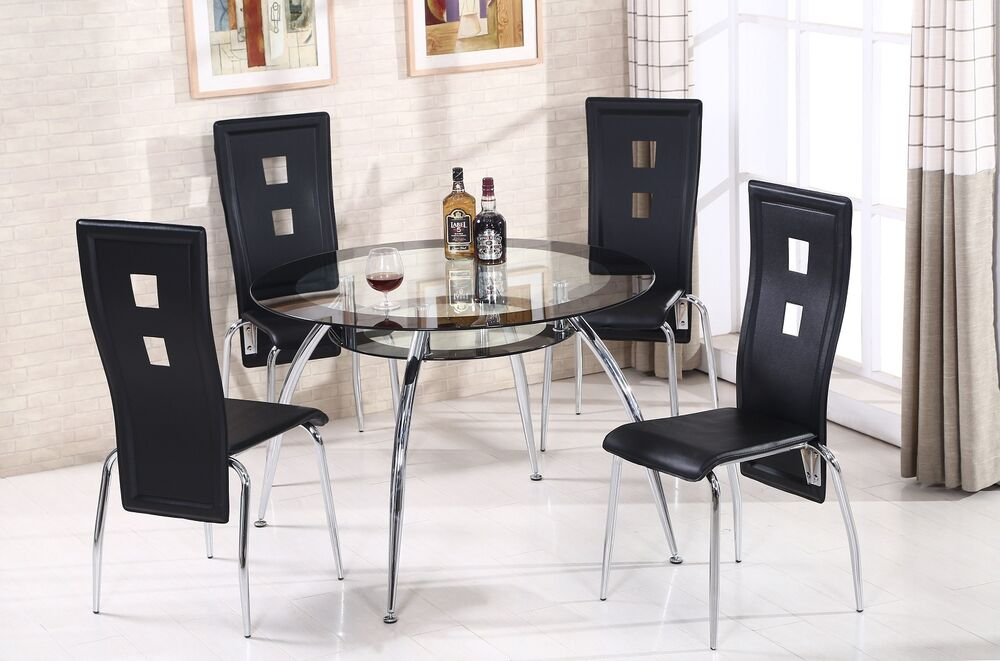 round glass dining table set 4 black faux leather modern dining