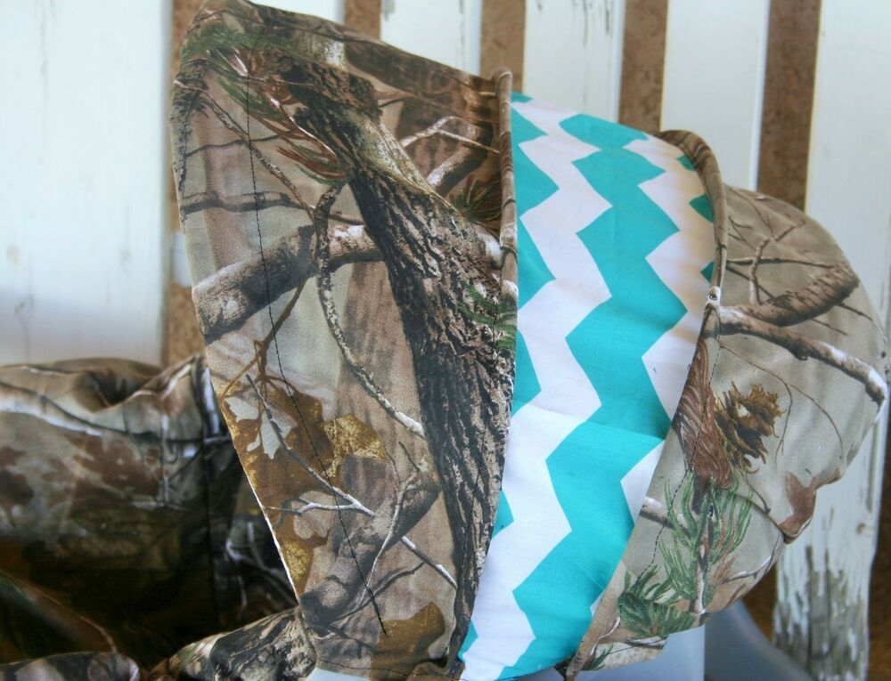 Realtree Camo And Teal Chevron Infant Car Seat Cover