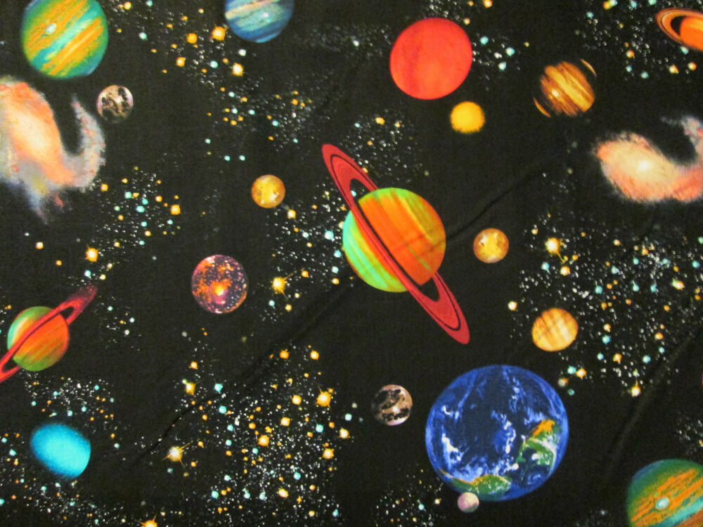Planets stars moon ringed panets colors black cotton for Space is not fabric