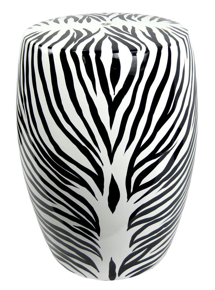 Zebra Garden Seat Stool Ceramic 18 Quot Black White Side Lamp