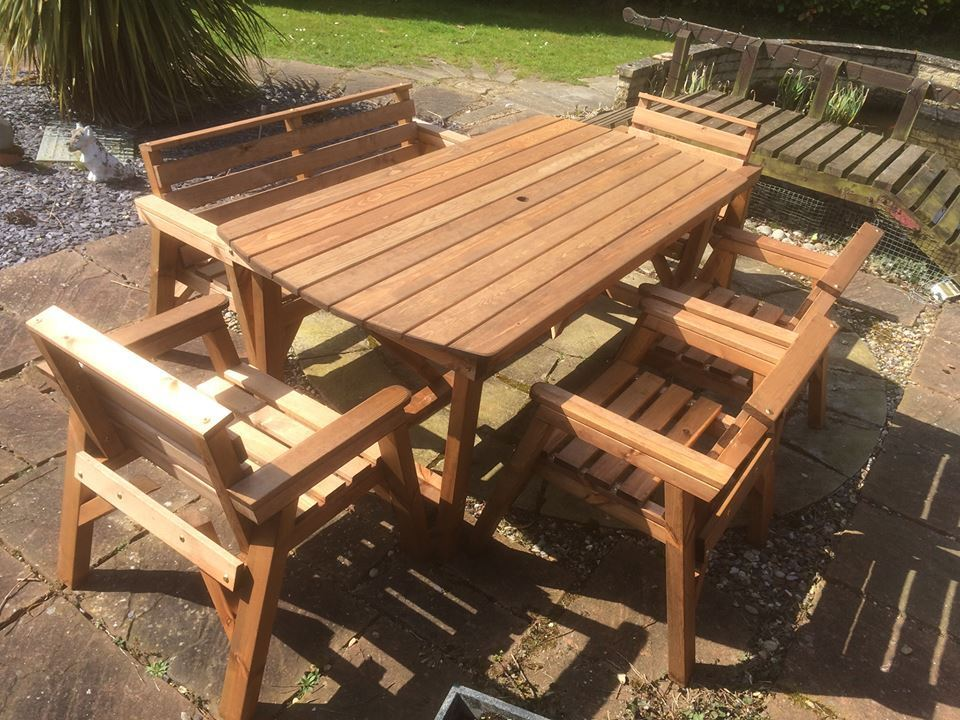 New Solid Wooden Garden Patio Furniture 6 Ft Table 1 Bench