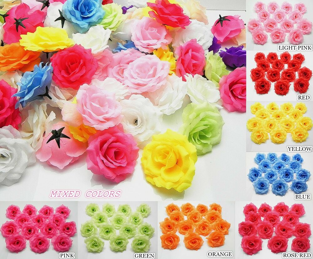 fake flowers in bulk for weddings 25 50 x roses artificial silk flower heads lots 3991