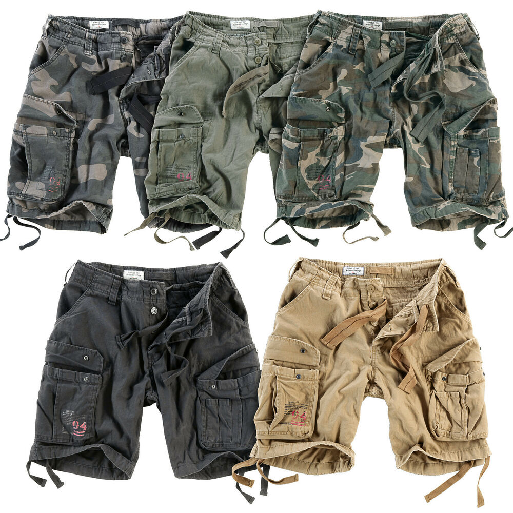 surplus airborne cargo shorts mens army vintage combat work wear knee length ebay. Black Bedroom Furniture Sets. Home Design Ideas