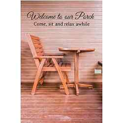 Welcome  to our Porch Come, Sit Vinyl Decal Black or White Decor Sticker B or W