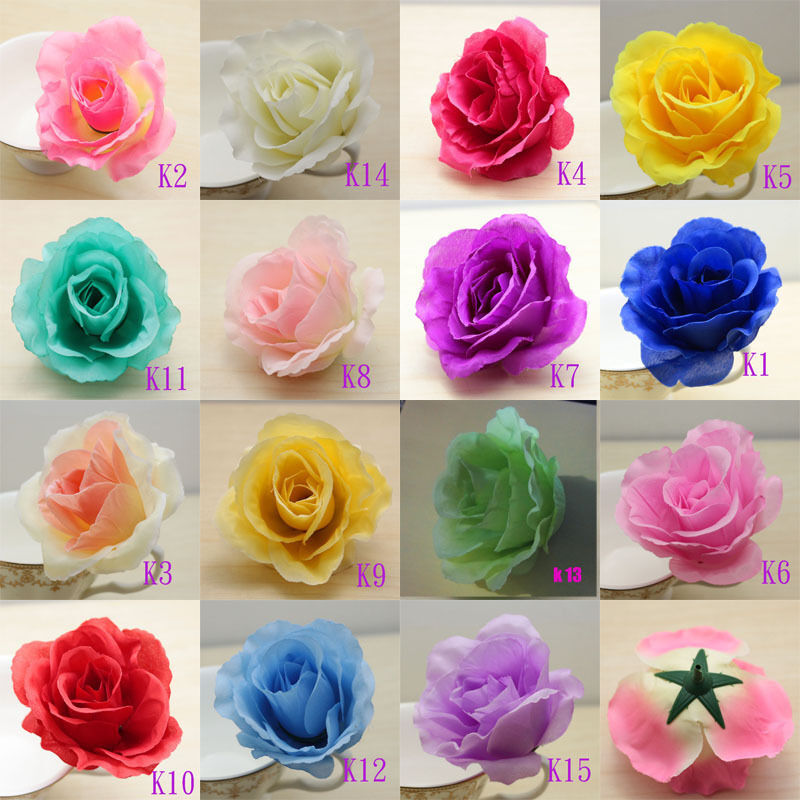 50pcs big roses simulation silk flowers heads floral for Flower heads for crafts