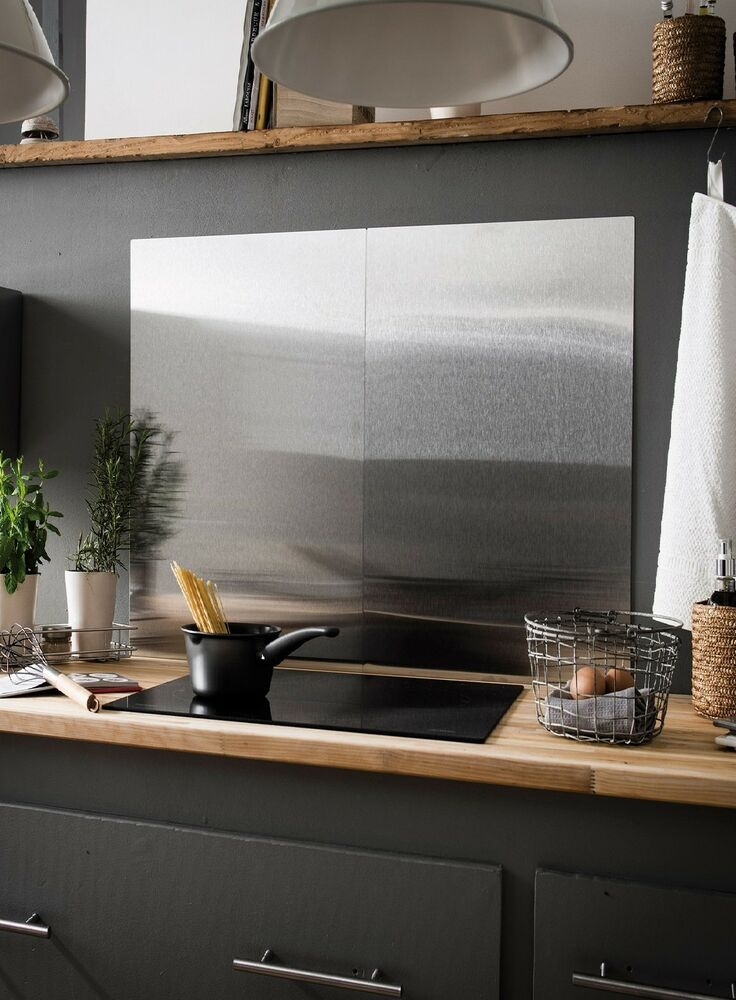 Brushed Stainless Steel Splashback