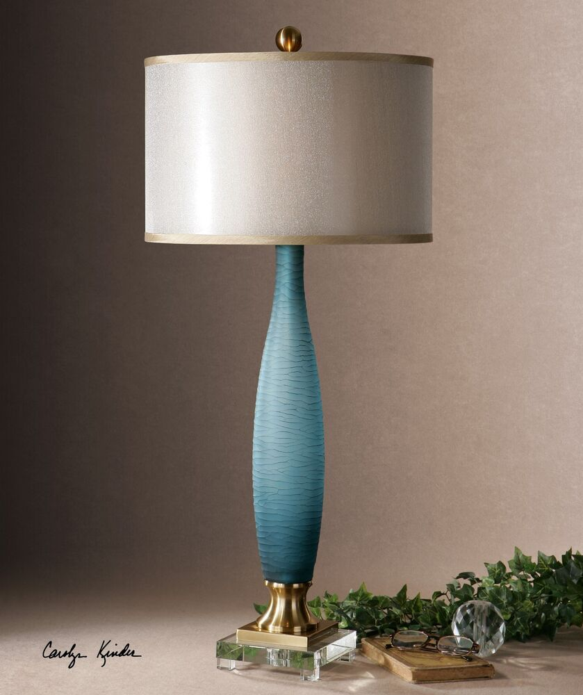 Etched Metal Lamp Shade: ETCHED FROSTED COBALT BLUE GLASS TABLE LAMP CRYSTAL FOOT