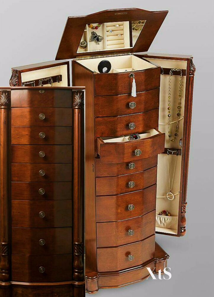 wood jewelry armoire box storage chest bedroom furniture. Black Bedroom Furniture Sets. Home Design Ideas