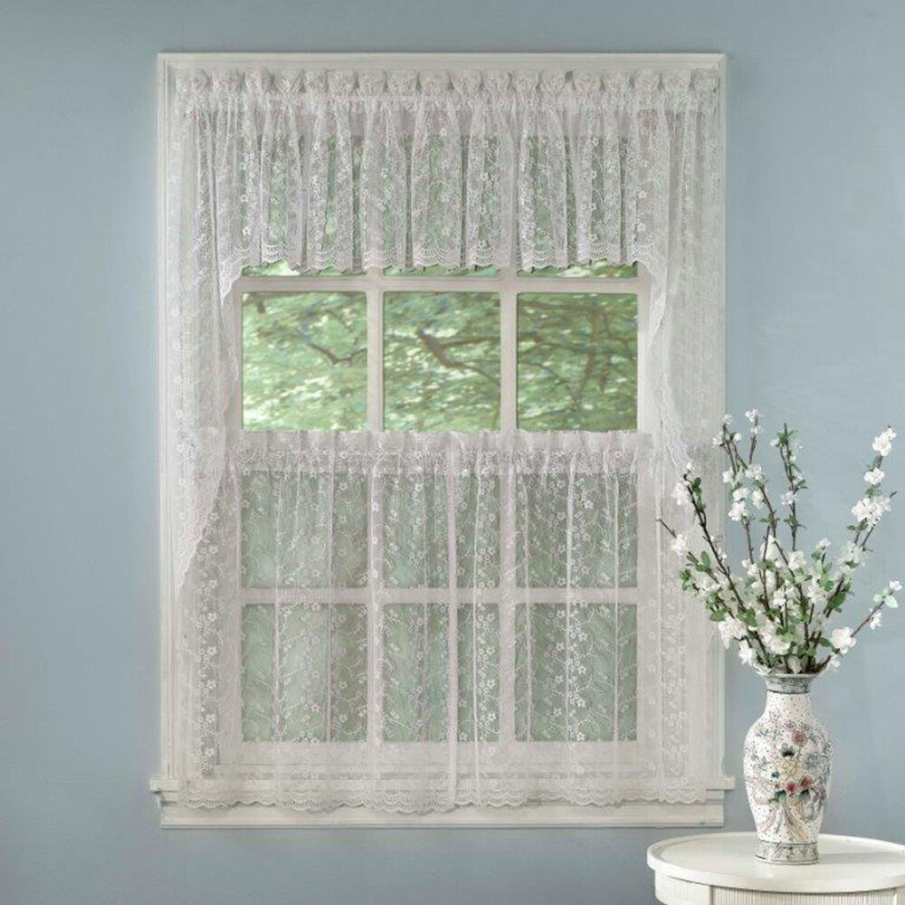 Elegant White Priscilla Lace Kitchen Curtains Tiers Tailored Valance Or Swag Ebay