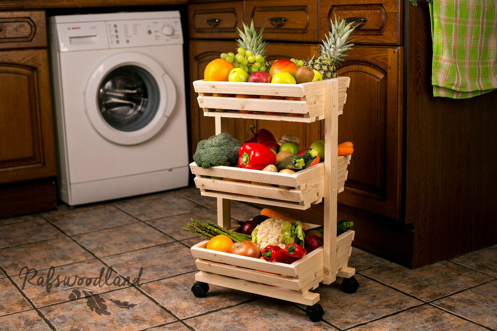 3 Tier Wooden Vegetable Rack Fruit Food Storage Rack On