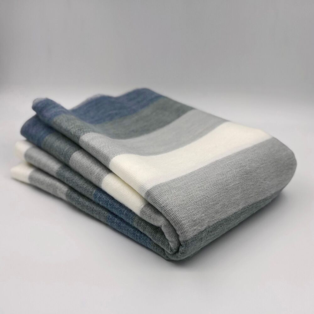 Soft warm blue white grey striped alpaca handmade wool for Soft blankets and throws