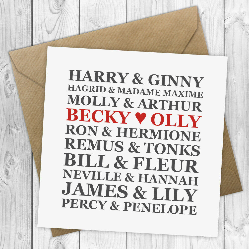Details About Personalised Harry Potter Wedding Card Anniversary Valentines Day PC003