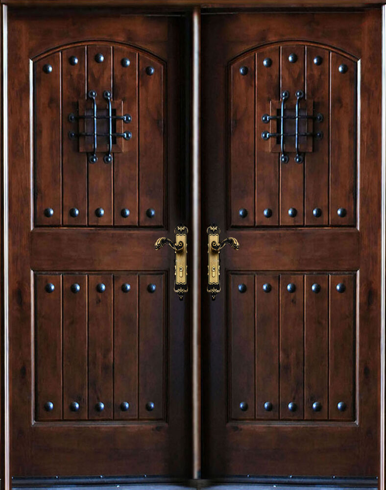 Knotty Alder Front Exterior Wood Double Entry Door 30 X80 X2 Left Hand Swing In Ebay