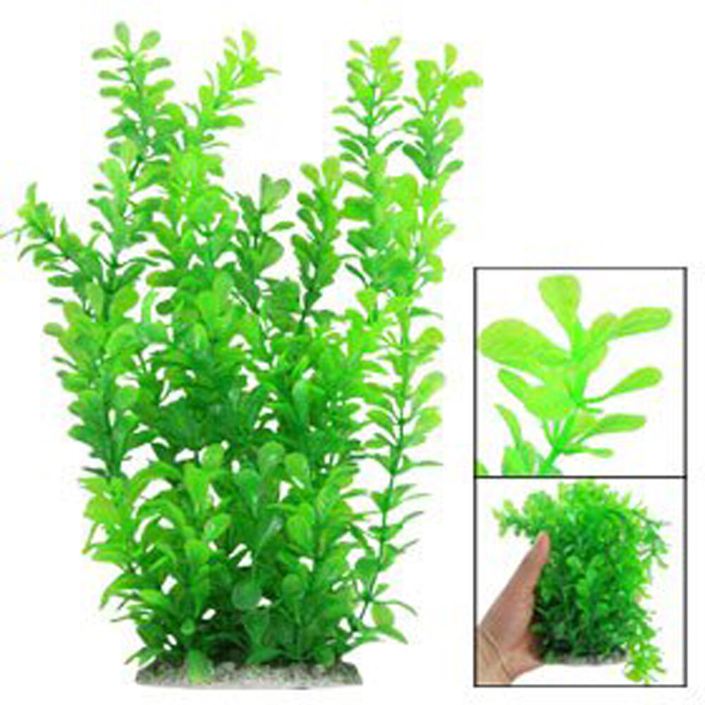 12 green water plastic plant decoration for aquarium new for Aquarium plant decoration