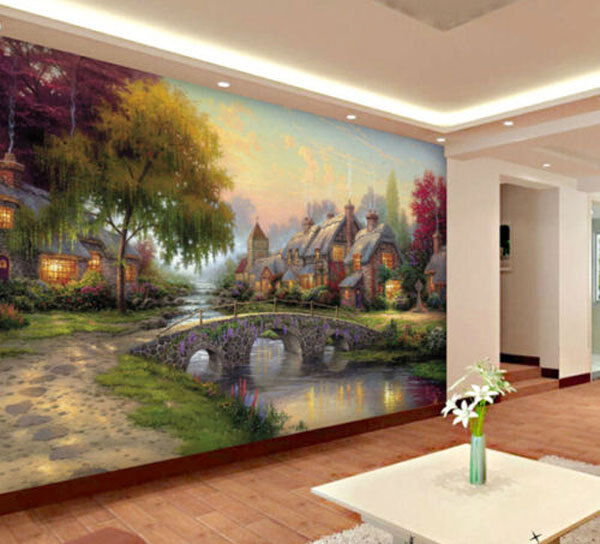Cobblestone european village full wall mural photo for Home wallpaper ebay