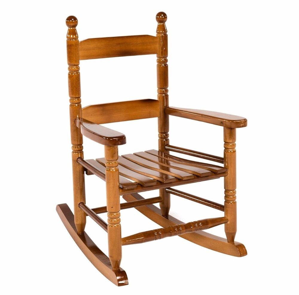Natural Wood Child Rocking Chair Classic Brown Laquer Oak Indoor ...