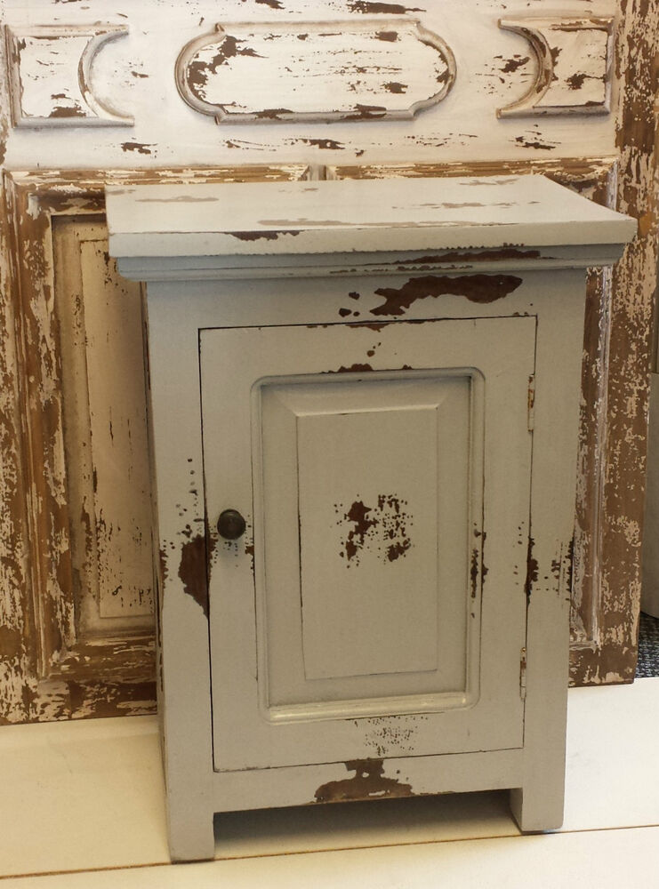 french country chic small cupboard dove grey shabby paint bedside table cabinet ebay. Black Bedroom Furniture Sets. Home Design Ideas