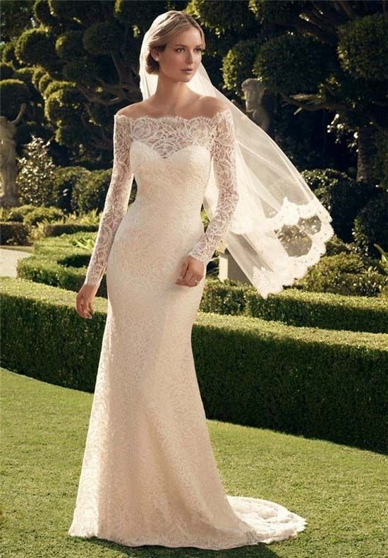New long sleeve lace off the shoulder wedding dresses for When to buy wedding dress