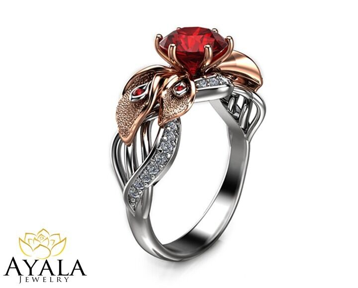 14k Two Tone Gold Ruby Ring Unique Engagement Ring Flower