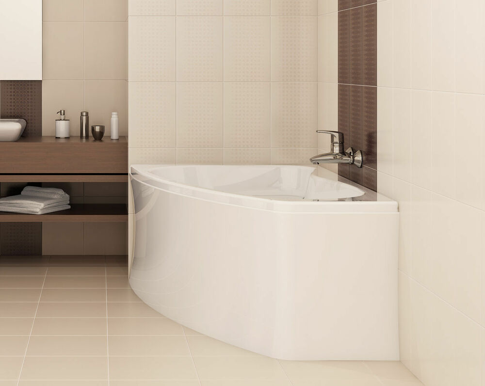 offset corner bath sicilia space saver 1400 x 1000mm with front