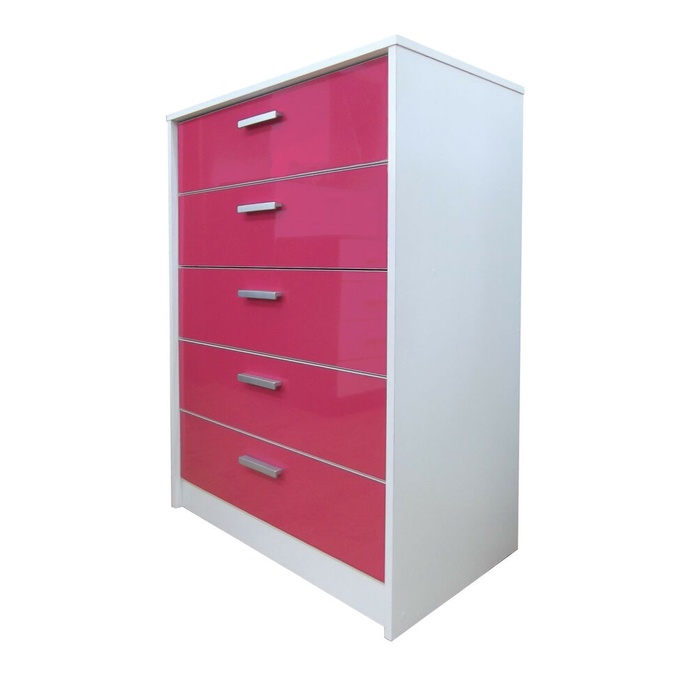 High Gloss Pink / White Oak Bedroom Furniture Range 5 ...