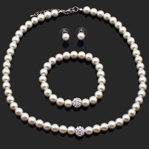 bracelet and earrings sets wedding jewelry set bridal jewellery pearls necklace 9618