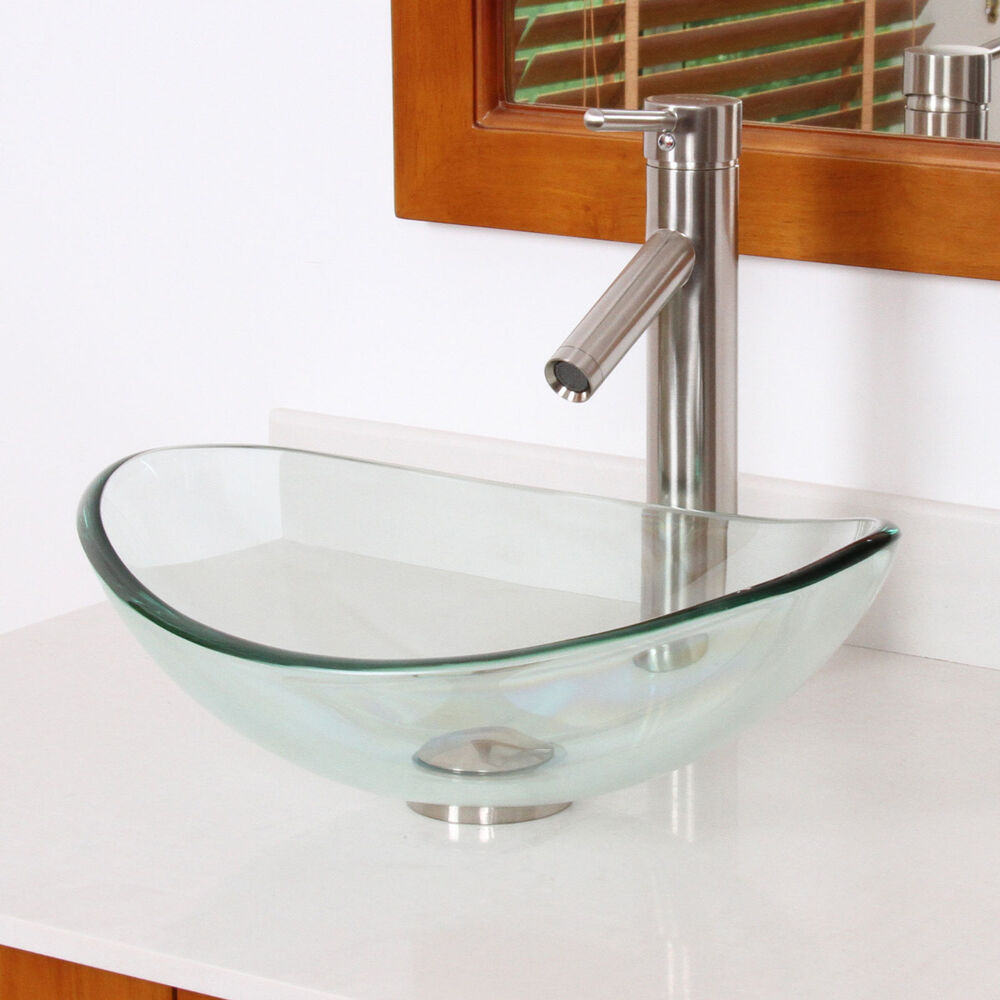Bathroom Smaller Clear Oval Boat Glass Vessel Sink Brushed Nickel Faucet Combo Ebay
