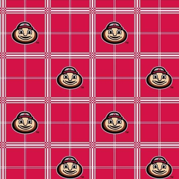 flannel college ohio state university plaid flannel fabric print by the yard ebay. Black Bedroom Furniture Sets. Home Design Ideas