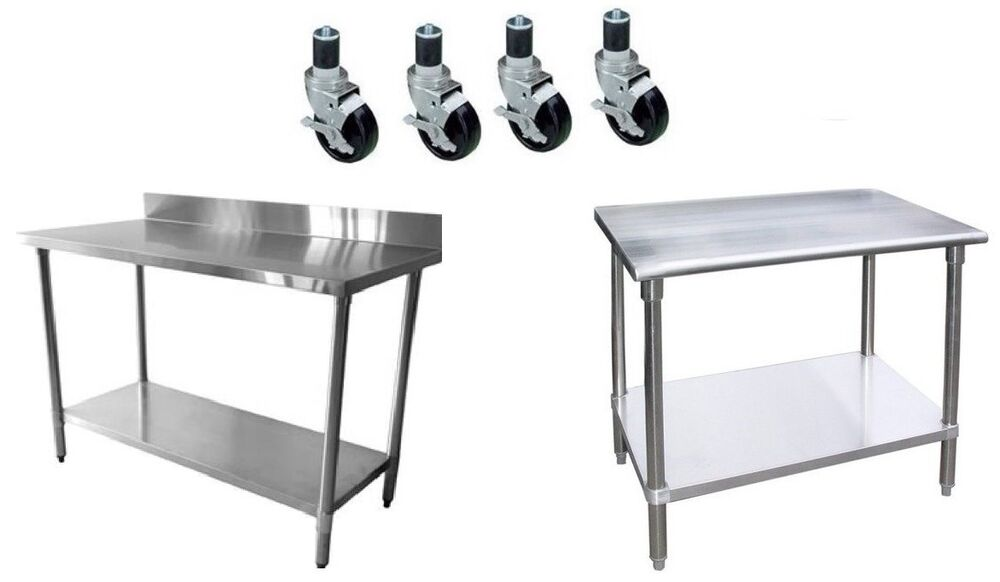 Worktable With 4 Casters Wheels Stainless Steel Food