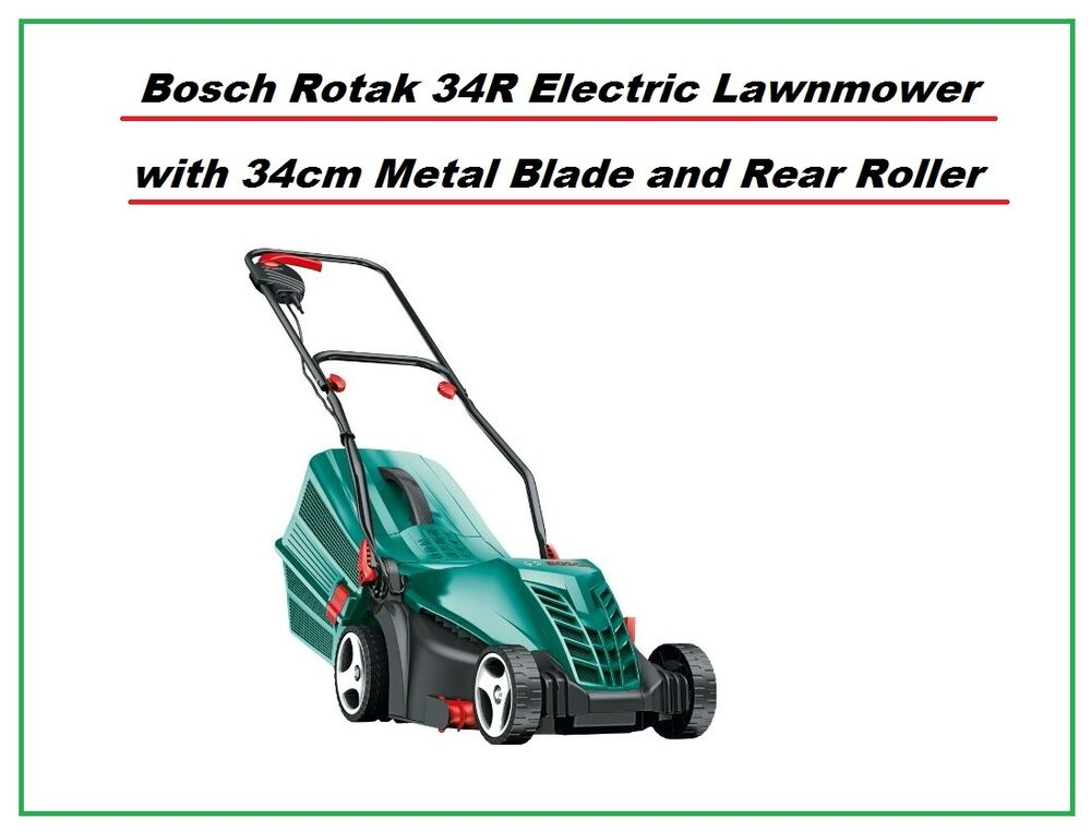 bosch rotak 34r electric rotary lawnmower 34cm metal blade rear roller 3165140746472 ebay. Black Bedroom Furniture Sets. Home Design Ideas