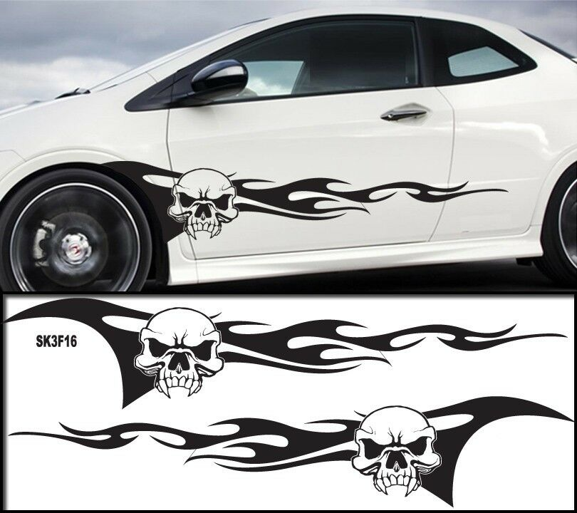 Universal Car Skull Flames Pinstripe Racing Side Graphics
