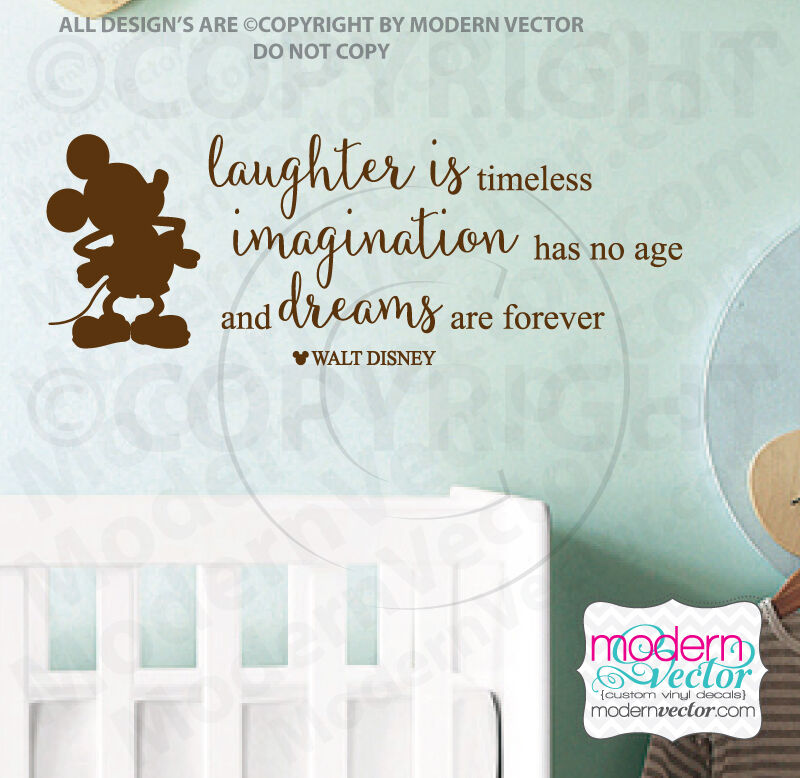 disney laughter imagination dreams quote vinyl wall decal lettering mickey mouse