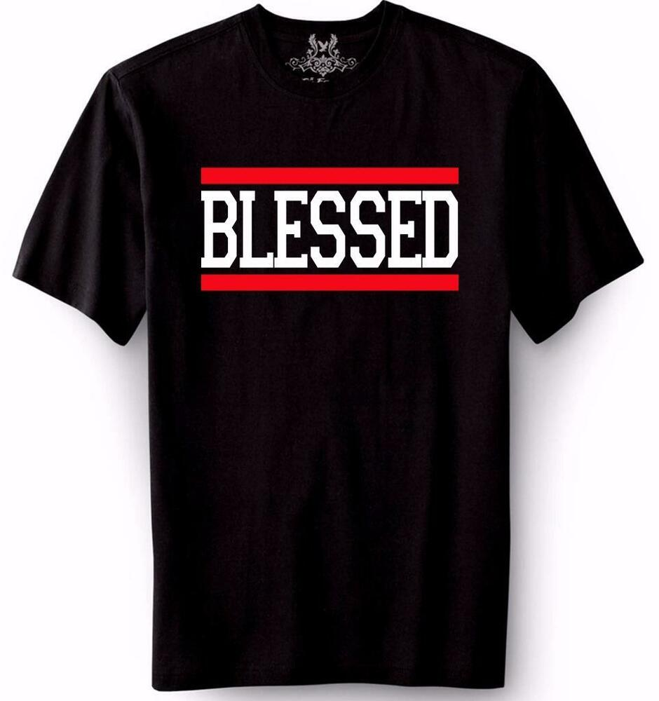 New men 39 s printed blessed jesus god love christian cross for Where to get t shirts printed