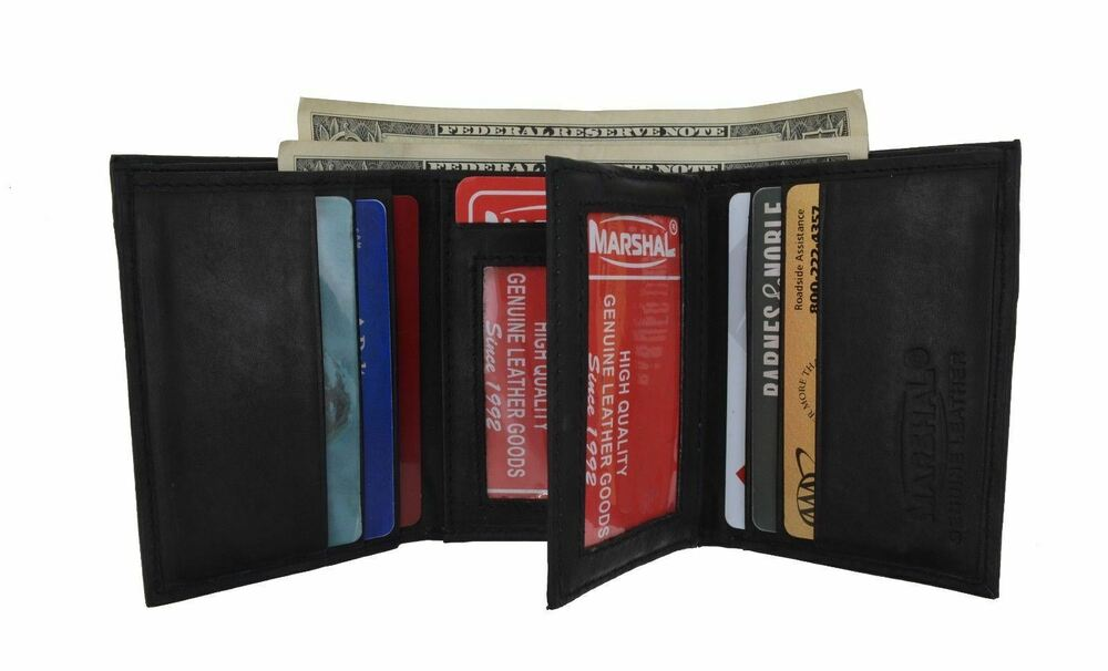 Leather trifold 6 credit card 2 id window wallet black for 2 id window wallet