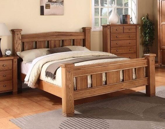 Michidean 4 6 Double Solid Natural Oak Bed Frame