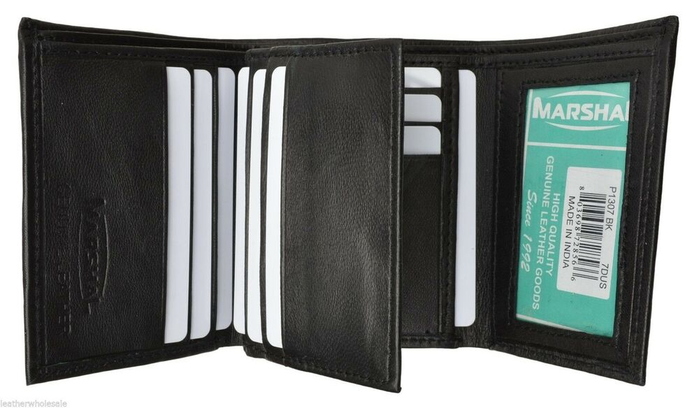 Mens trifold wallet extra capacity 10 inside slots 2 id for 2 id window wallet