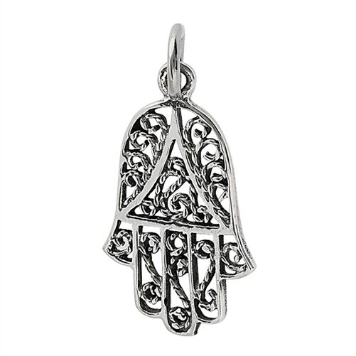 Sterling Silver Filigree Hamsa Hand Of Fatima Charm
