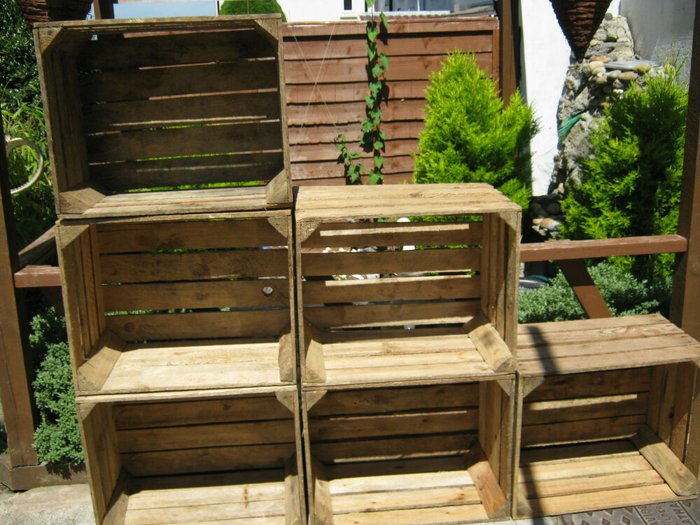 4 wooden apple crates storage box fruit crates shabby chic for Apple crate furniture