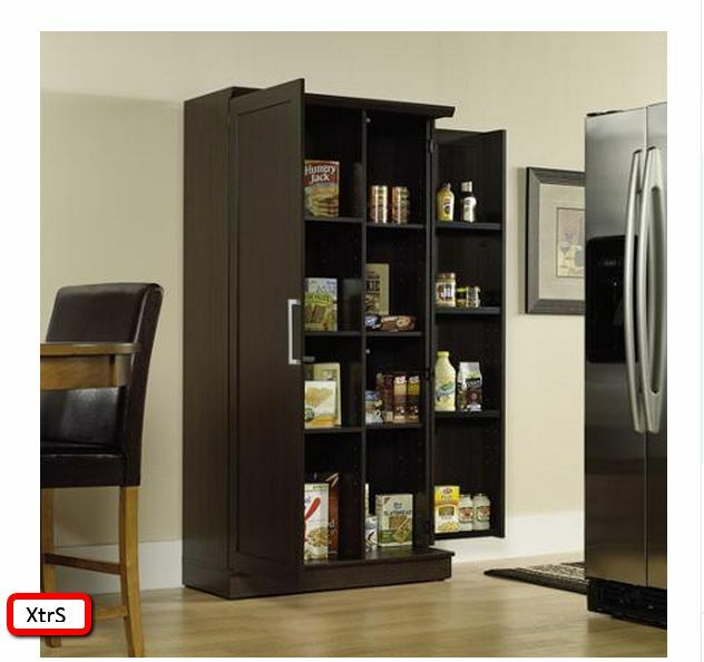Kitchen pantry cabinet tall wood storage shelf organizer racks cupboard 2 doors ebay - Tall kitchen storage cabinet ...