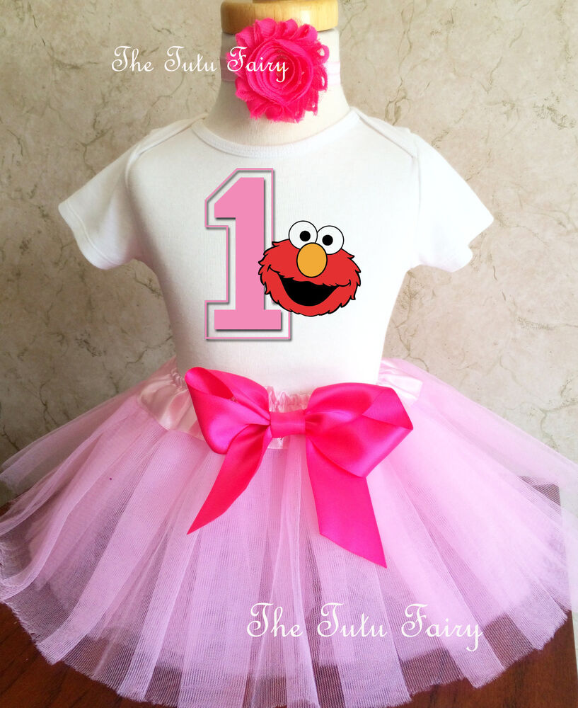 Light Pink Elmo Baby Girl 1st First Birthday Tutu Outfit