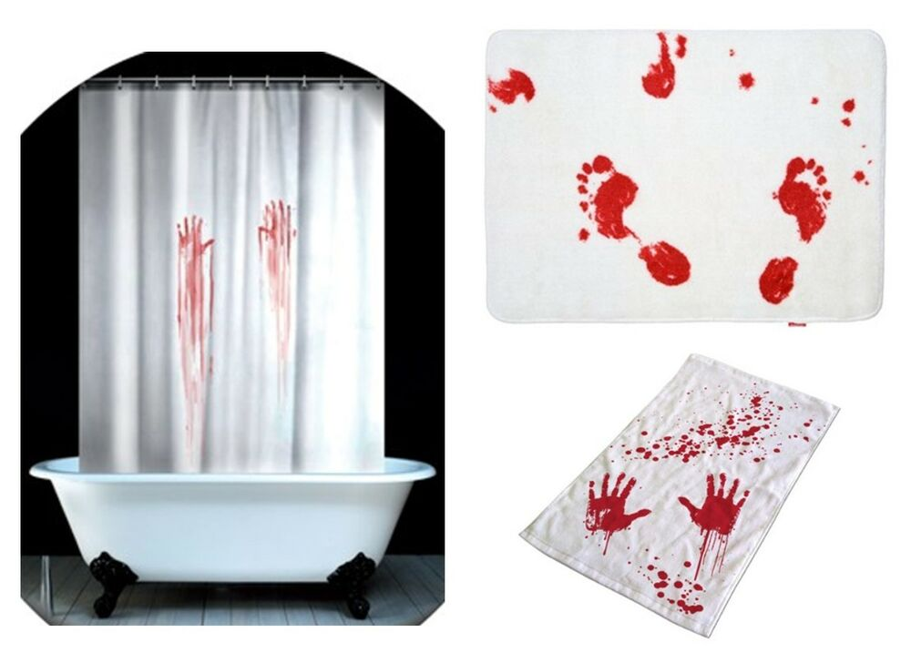 bloody shower curtain bath mat amp hand towel licensed blood bath set shower gel towel mat curtain bloody horror