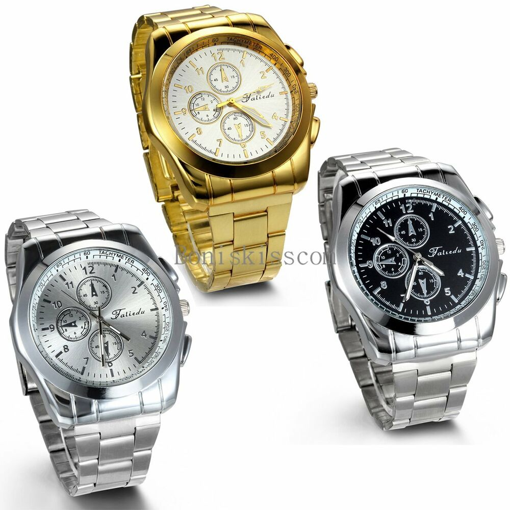 Stainless steel band quartz analog elegant classic casual mens wrist watch ebay for Stainless watches
