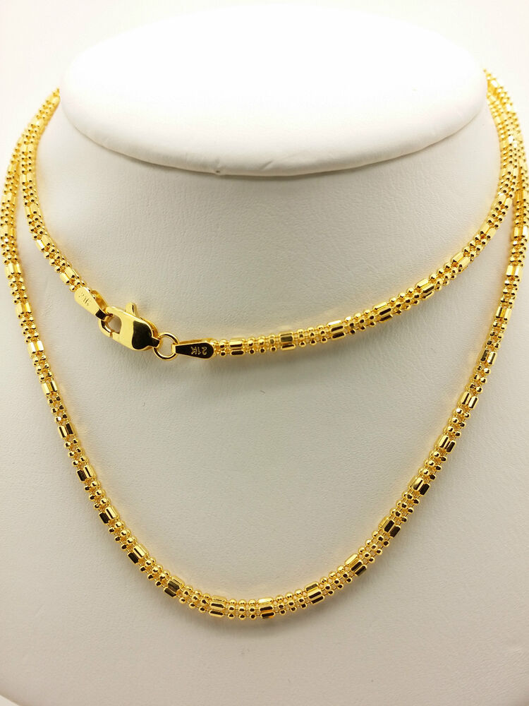 21k solid yellow gold sparkle square beaded necklace. Black Bedroom Furniture Sets. Home Design Ideas
