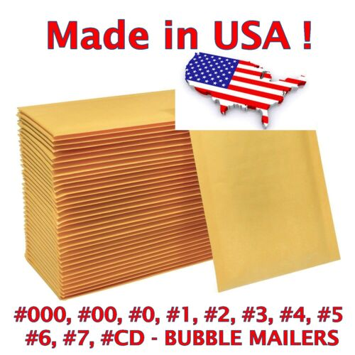 Wholesale Bubble Mailers Padded Envelopes #0 #1 #2 #3 #4 #5 #6 #7 #00 #000 - USA