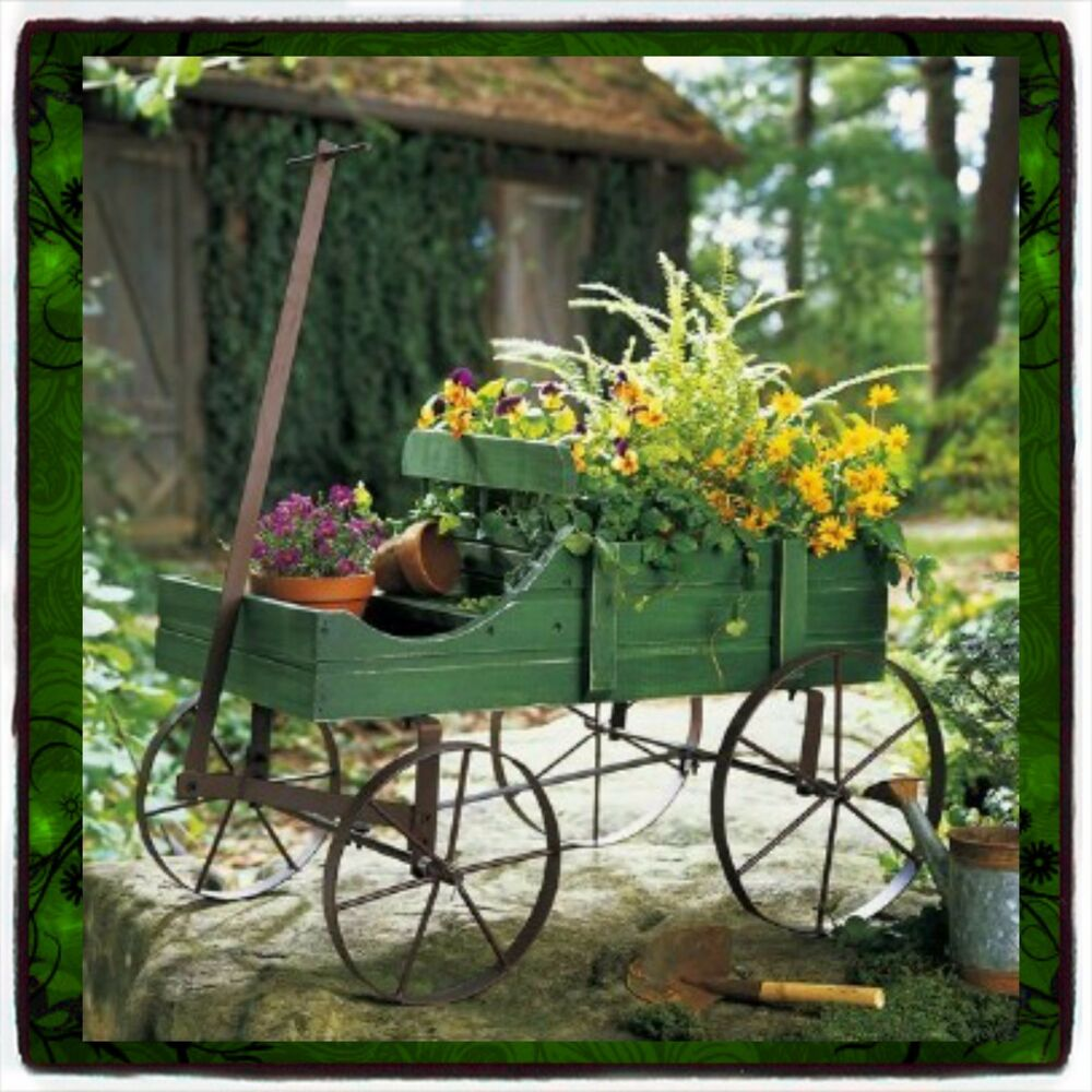 Plant stands patio wagon showcase flowers wood pot stand for Carretas de madera para jardin
