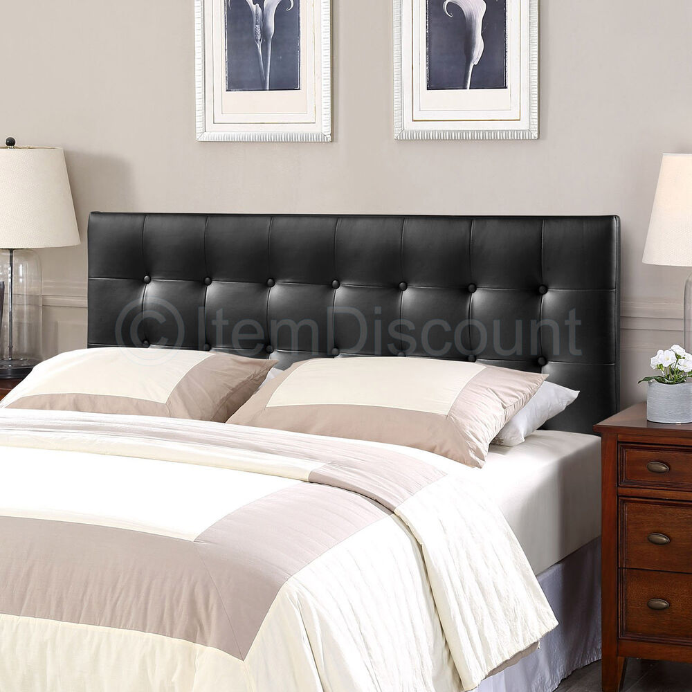queen black button tufted leatherette vinyl upholstered bed headboard modern ebay. Black Bedroom Furniture Sets. Home Design Ideas