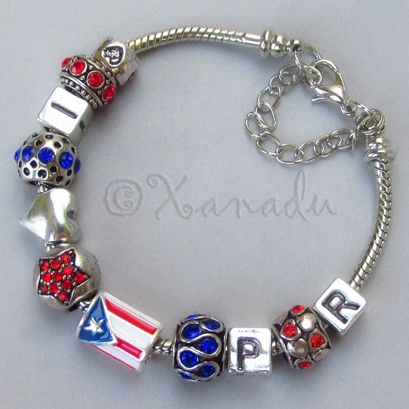 European Charm Bracelets: Puerto Rico European Charm Bracelet With I Love PR And