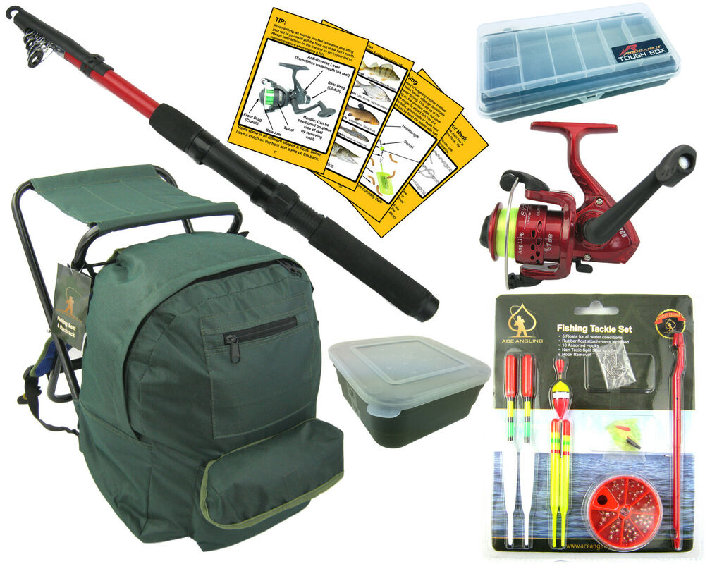 Complete junior beginners fishing kit set rod reel tackle for Fishing tackle kits
