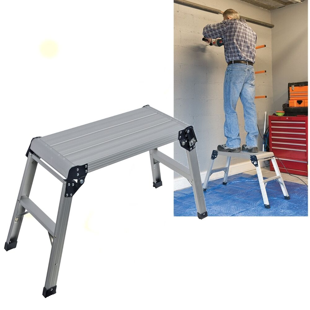 Hop Step Up Platform Stool Folding Aluminium Work Bench