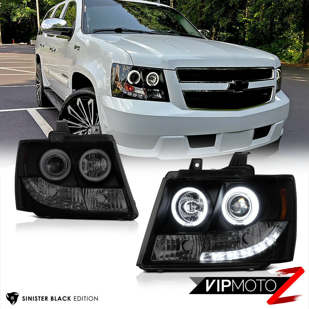 """Pictures Of Chevy Avalanche Truck >> 2007-2014 Chevy Suburban Tahoe """"SINISTER BLACK"""" CCFL Halo Rim LED DRL Headlights 7425936925976 ..."""